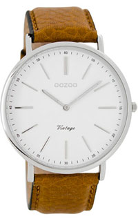 OOZOO 44mm silver case / silver on white / cognac (tan)