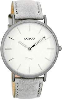 OOZOO 40mm matt light grey alu case / silver on white / lt grey