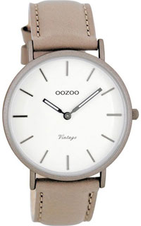 OOZOO 40mm matt taupe alu case / silver on white / taupe