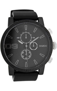 OOZOO 50mm matt black alu case / silver on black / black rubber