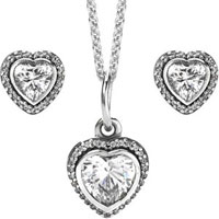 Sterling Silver Heart Necklace and Earring Set