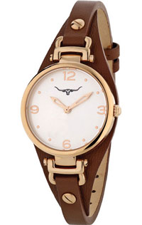 (RETIRED) Erina Watch Rose Gold Plated with Brown Leather