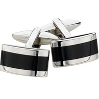 Spartan Stainless Steel Onyx Rectangular Cufflinks