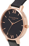 Olivia Burton Big Dial Black and Rose Gold Watch