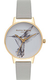 Olivia Burton Animal Motif Hummingbird Small Grey and Gold Watch
