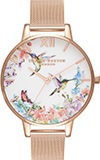 Olivia Burton Painterly Prints Hummingbird Rose Gold Mesh Watch