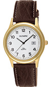Olympic Gents Gold Classic Watch White Dial Brown Leather Strap