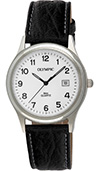 Olympic Gents Steel Classic Watch White Dial Black Leather Strap