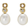 (RETIRED) 14ct Gold Compose Earrings Pearl and Diamond