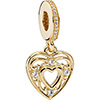 PANDORA 14ct Gold Romantic Heart Hanging Charm