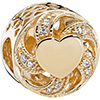 PANDORA 14ct Gold Ribbon Heart Openwork Charm